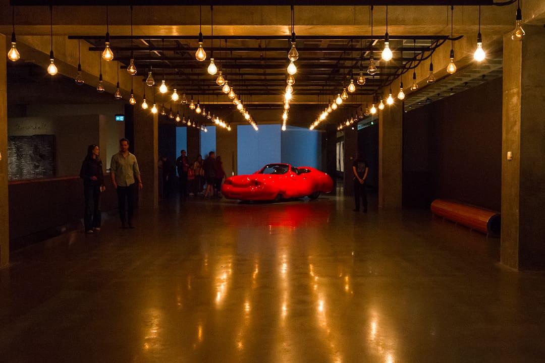 L'œuvre Pulse Room de Rafael Lozano-Hemmer (2006) au MONA